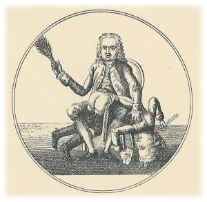 """""""En skribent får ris"""": karikatur-kommentar av innstramminga av trykkefridomen igjen i 1771."""