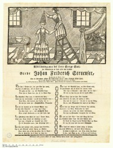 Nidskrift mot Struensee: livlegen steig opp på trona, men òg på dronninga, som visast til høgre i bilete.