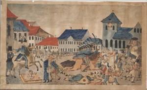 """Hans E. Reimers teikning av """"Torvslaget"""", 17.mai 1829."""