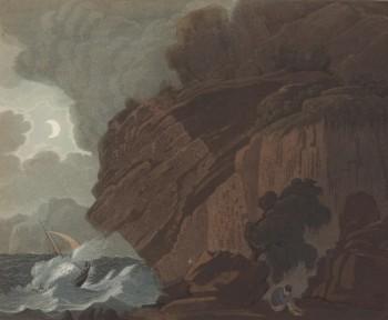 Maleri, klippe med høg sjø, halvmåne og mørke skyar, båtsegl i bakgrunnen